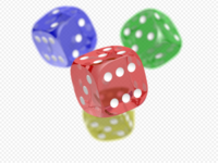 Three colored dice over a checkered background