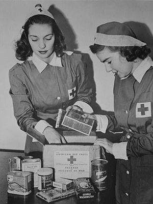 Third Geneva Convention - Red Cross workers preparing food packages for prisoners of war