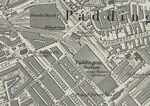 Paddington tube station (Bakerloo, Circle and District lines) - Image: Paddington station on 1874 OS Map