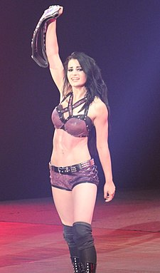 Paige after winning her first Divas Championship on April 7, 2014