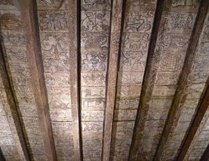 Scottish Renaissance painted ceilings - Ceiling from Rossend Castle, Burntisland, in the National Museum of Scotland, painted for Sir Robert Melville of Murdocairney with emblems taken from Claude Paradin