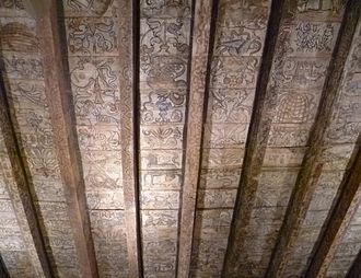Rossend Castle - Painted ceiling from the castle preserved in the National Museum of Scotland