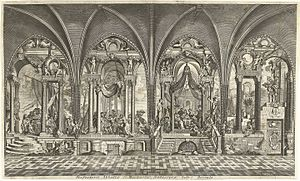 St. Michael's Abbey, Antwerp - An engraving showing the paintings in the refectory