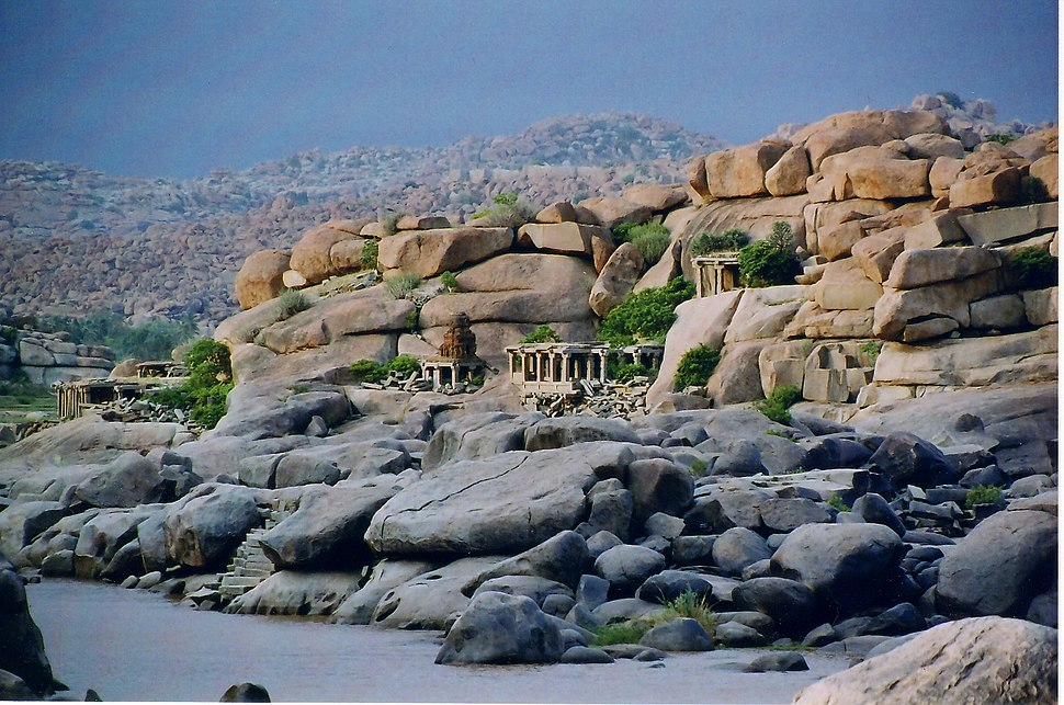 Panaromic view of the natural fortification and landscape at Hampi