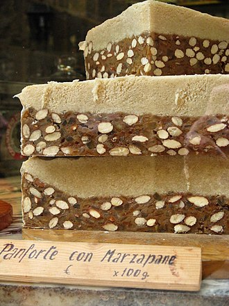Marzipan - A variation of panforte with a topping of marzipan at a shop in San Gimignano