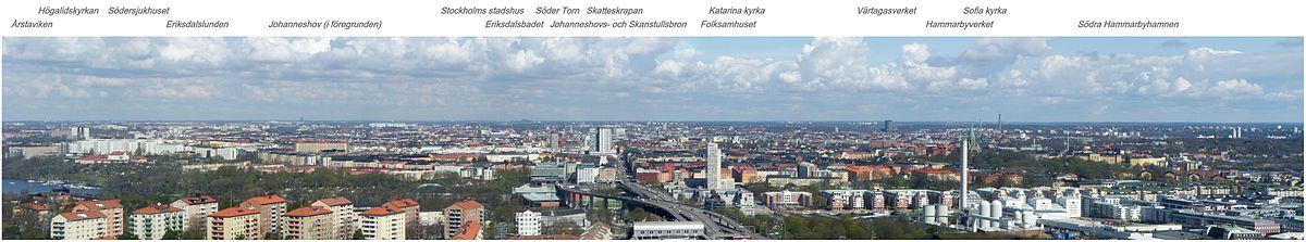 Vy over Södermalm og Stockholm mod nord fra Globens top i maj 2010.