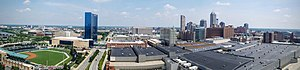 Panorama of downtown Indianapolis skyline, July 2016