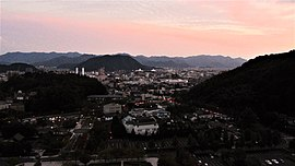 Panoramic view of central Yamaguchi in the evening light