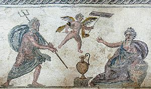 Amymone - Poseidon approaches Amymone, whose identity is symbolized by the water jug, with the Cupid above representing the erotic motive of the scene (Roman-era mosaic, House of Dionysos at Paphos)
