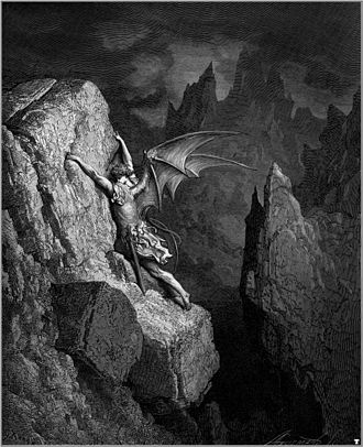 His Dark Materials - Satan struggles through hell in a Gustave Doré illustration of Paradise Lost.