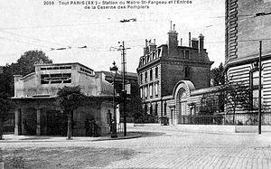 Paris Métro Line 3bis - Entrance to the station Saint-Fargeau, with its characteristic architecture, circa 1920.