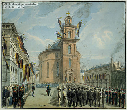 Pre-parliament delegates processing into Paul's Church in Frankfurt, where they laid the groundwork for electing a National Parliament[45]