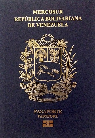 Venezuelan passport - The current front cover of the Venezuelan biometric passport.