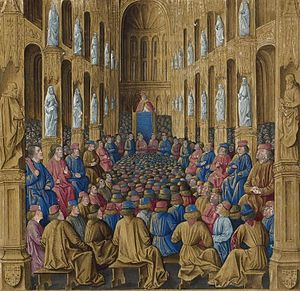 Council of Clermont - Pope Urban II at the Council of Clermont, given a late Gothic setting in this illumination from the Livre des Passages d'Outre-mer, of c 1474 (Bibliothèque nationale)
