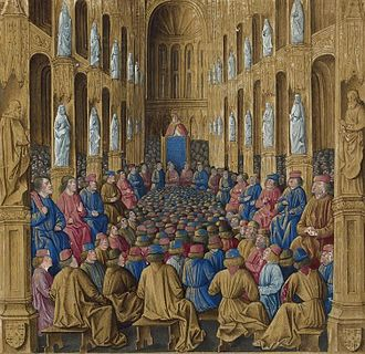 First Crusade - Pope Urban II at the Council of Clermont. Illustration from Sébastien Mamerot's  Livre des Passages d'Outre-mer (Jean Colombe, c. 1472–75, BNF Fr. 5594)