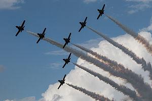 Murcia–San Javier Airport - Image: Patrulla Águila CASA C 101EB Aviojet formation (22101433191)