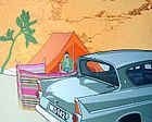 Paul Harvey. Ford Anglia with Tent and Giotto Tree(uploaded 2008)