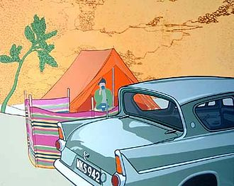 Paul Harvey (artist) - Ford Anglia with Tent and Giotto Tree