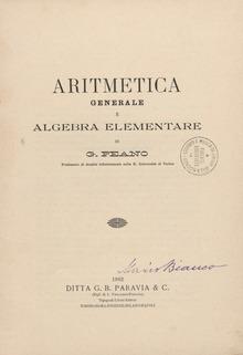 Aritmetica generale e algebra elementare, 1902