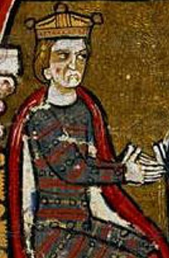 Peter II of Aragon - King Peter the Catholic pictured sitting on his throne in a feudal act in February 1198. It is the only known contemporary image of the king. Liber feudorum Ceritaniae (1200-1209), pg. 64v.
