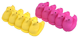 Two rows of yellow and pink Easter Peeps, made...