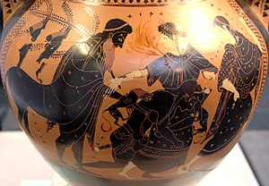 Chiron - Peleus raping Thetis (who shapeshifts in fire and big cat), between Chiron and a Nereid. Side B of an Attic black-figure amphora, ca. 510 BC.