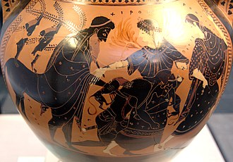 Chiron - Peleus wrestling Thetis (who shapeshifts in fire and big cat), between Chiron and a Nereid. Side B of an Attic black-figure amphora, c. 510 BC.