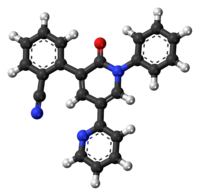 Ball-and-stick model of the perampanel molecule