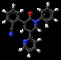 Ball-and-stick model of the perampanel molecule