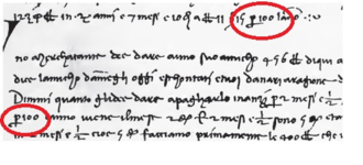 Percent sign - 1339 arithmetic text in Rara Arithmetica, p. 437