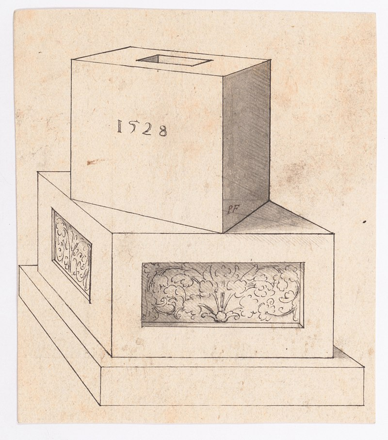 Dibujo en perspectiva de una base de columna con cubo MET DP145171.jpg