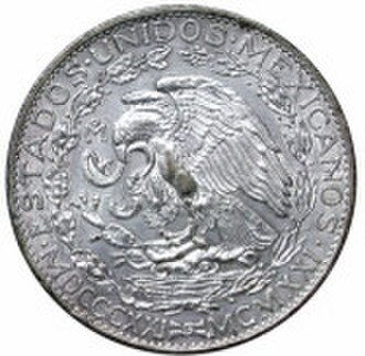 Mexican peso - A two-peso coin from 1921, issued to commemorate the centennial of the independence of Mexico.