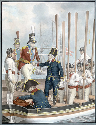 Steen Andersen Bille (1751–1833) - At Toldboden (The Customs House), Major General Heinrich Ernst Peymann says goodbye to Vice Admiral Steen Andersen Bille, who is heading out for an attack on the British Navy on 17 August, 1807.