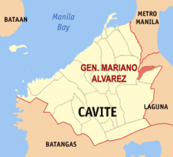 Map of Cavite showing the location of Gen. Mariano Alvarez