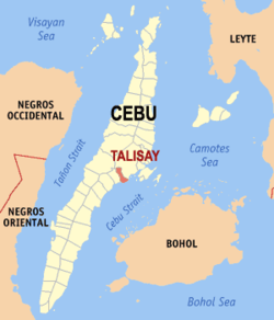 Map of Cebu showing the location of the city of Talisay.
