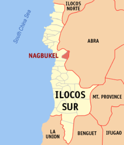 Map of Ilocos Sur showing the location of Nagbukel