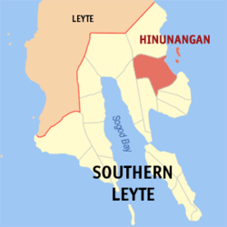 Map of Southern Leyte showing the location of Hinunangan