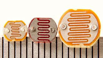 Photoresistor - Three photoresistors with scale in mm