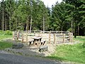 Picnic table and corral at Esgair Fwyog forest car park - geograph.org.uk - 468588.jpg