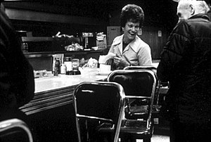 English: Waitress in unidentified diner, Pike ...