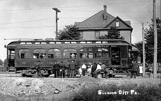 Pittsburgh, Harmony, Butler and New Castle Railway - The railway in Ellwood City in 1908.