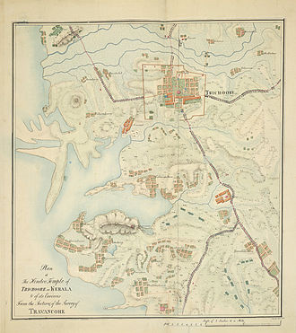 The first known map of Thrissur City with Vadakkunnathan Temple prepared by John Gould in 1816 Plan of the Hindu temple at Trichur.jpg