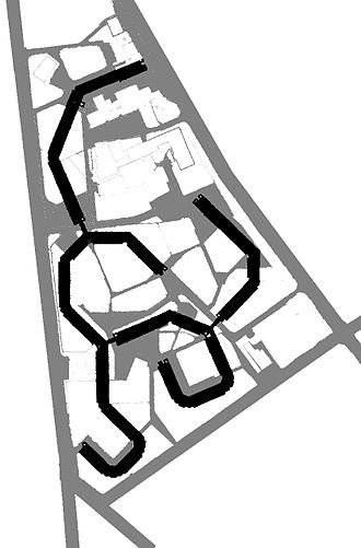 Park Hill, Sheffield - The footprint of the four blocks, with the paths and low lying structures beneath