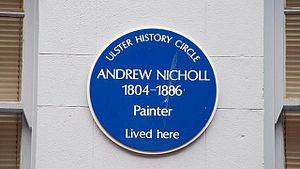 Andrew Nicholl - Blue plaque at Nicholl's birthplace