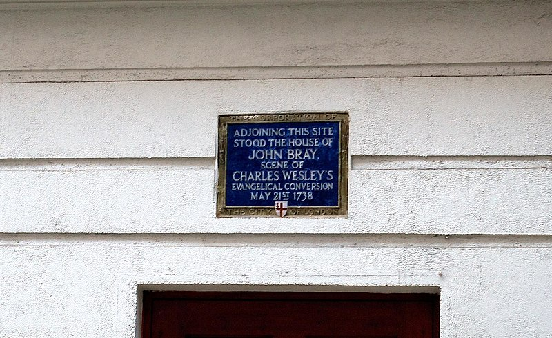 Photo of John Bray and Charles Wesley blue plaque