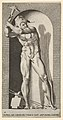 Plate 19- Vulcan standing in a niche swinging a hammer, with an anvil, hammer, and tongs at his feet, from a series of mythological gods and goddesses MET DP830881.jpg