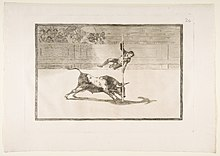 Plate 20 from the 'Tauromaquia'-The agility and audacity of Juanito Apiñani in -the ring- at Madrid. MET DP817518.jpg
