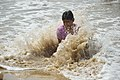 Playful Blind Girl with Sea Waves - New Digha Beach - East Midnapore 2015-05-03 9790.JPG