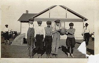 Newcastle, Oklahoma - Children on playground at Pleasant Hill School in 1914. Newcastle, Oklahoma