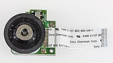 Plextor PX-716A - disc drive motor with Sony Chemicals flexible flat cable-6417.jpg